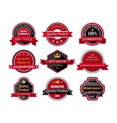 Flat quality product guarantee badges or labels vector image