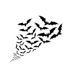 Flying bats silhouettes flock bats vector