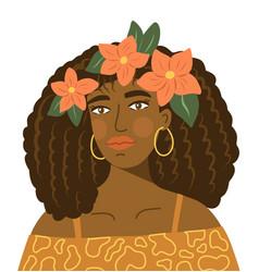 Girl flower portrait vector