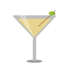 Glass cocktail martini with olive vector