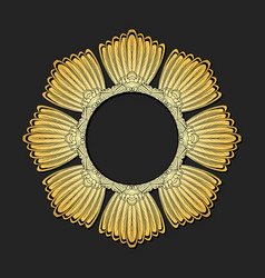 Gold round feather mandala from bird tails vector