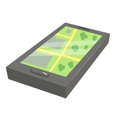 Gps map on phone icon cartoon style vector