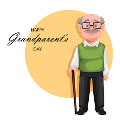 Handsome smiling old man cheerful grandfather vector