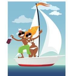Happy sailors vector image