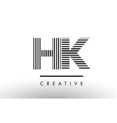 hk h k black and white lines letter logo design vector image