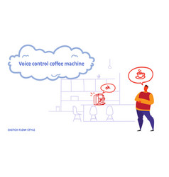 Home coffee machine controlled by man smart tech vector