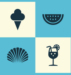 Hot icons set collection of melon vitamin conch vector