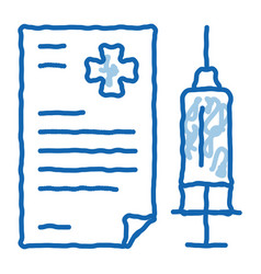 Injection medical report doodle icon hand drawn vector