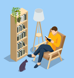 isometric man sitting in a chair at home and vector image