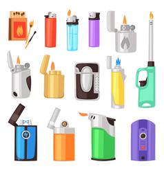 lighter cigarette-lighter with fire vector image