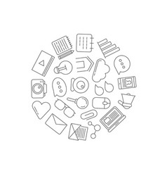 line blog icons in circle shape vector image