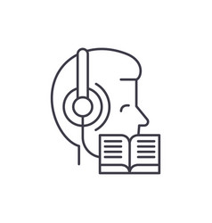 listening to music and reading line icon concept vector image