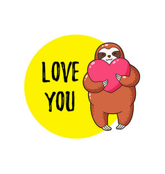 lovely cartoon sloth with a vector image