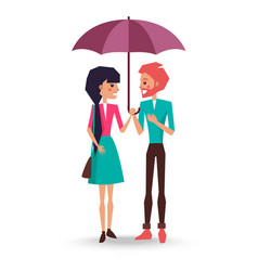 loving couple stands under umbrella vector image
