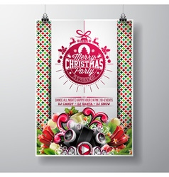 Merry Christmas Party flyer design vector