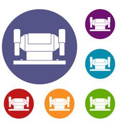 metalworking machine icons set vector image