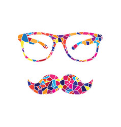 Mustache and glasses sign stained glass vector