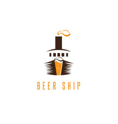 negative space concept beer and ship vector image