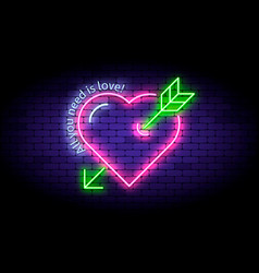 neon heart with arrow on wall vector image