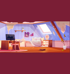 Old dirty girl bedroom interior on attic vector