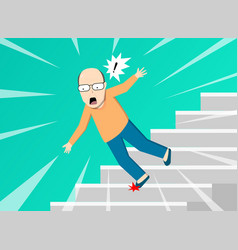 old man falling from staircase art vector image