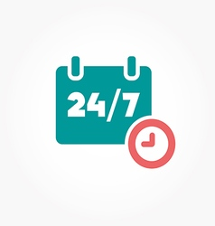 Open 24 hours day and 7 days week icons vector image vector image