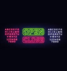 open close neon text open close neon vector image