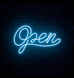 open neon inscription for signboard vector image