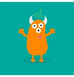 Orange monster with eyes horns tongue vector