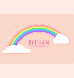 pink background with rainbow and clouds vector image