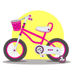 pink childrens bicycle vector image