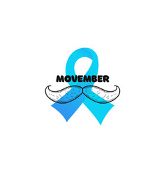 prostate cancer with moustache and light blue vector image