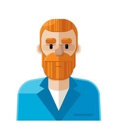 red hair man flat icon avatar vector image