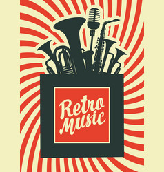 retro music poster with musical instruments vector image