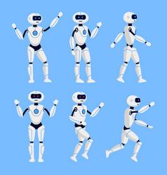 robot animation set on a blue background vector image