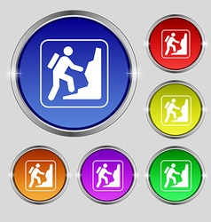 rock climbing icon sign Round symbol on bright vector image
