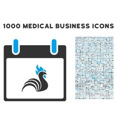 Rooster Calendar Day Icon With 1000 Medical vector image