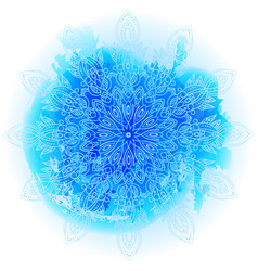 Round blue gradient mandala on white background vector