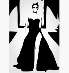 Runway model in fashionable gown vector