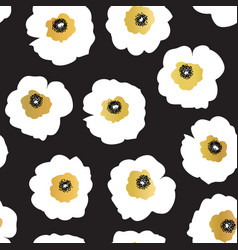 seamless pattern white and golden flowers vector image