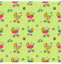 seamless pattern with cute baby carriages vector image
