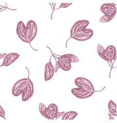 Seamless pattern with hand drawn pastel iresine vector