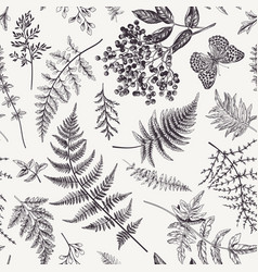Seamless pattern with leaves and butterfly vector