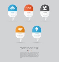 Season icons set collection goggles conch vector