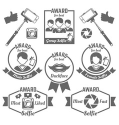 Selfie awards black labels badges and emblems vector