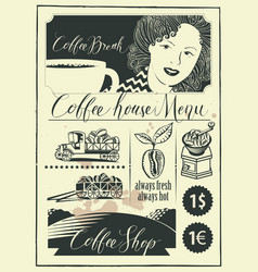 set design elements on coffee theme with girl vector image
