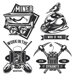 Set miner emblems labels badges logos vector