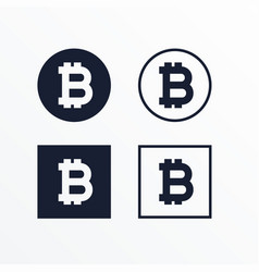 Set of black and white bitcoins symbol vector