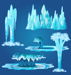 set of frozen streams and splashes of water vector image
