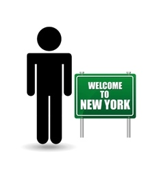 Silhouette man sign welcome new york vector